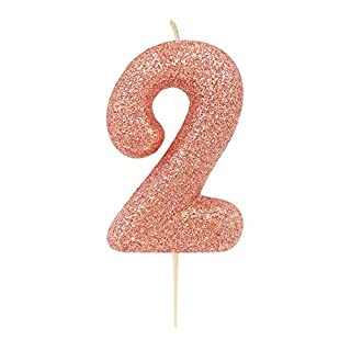Anniversary House AHC50/2 Rose Gold Number 2 Glitter Candle