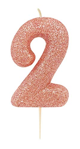 CREATIVE PARTY Age 2 Glitter Numeral Moulded Pick Candle Rose Gold