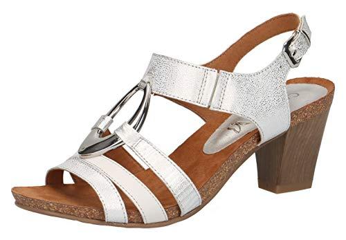CAPRICE 28308-22 Damen Sandaletten,Sandaletten,Sommerschuhe,offene Absatzschuhe,hoher Absatz,feminin,(919) Silver/White,38.5 EU / 5.5 UK Cynthia Leder