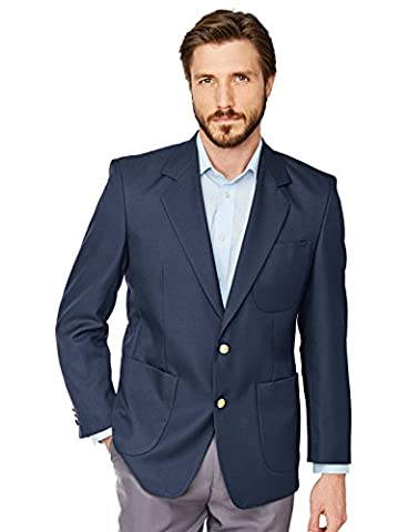 Mens Single Breasted Classic Oxford Blazer-Tailored/Full Fitting (Size: 50) (Colour: Navy)