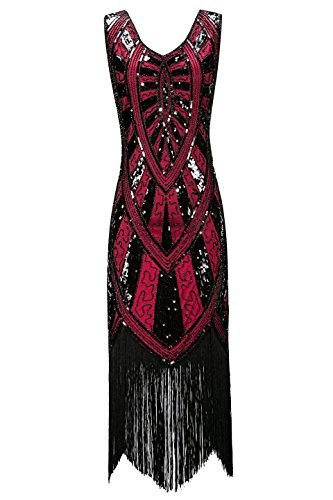 Metme der 1920er Jahre Vintage inspirierte Fransen verziert Gatsby Flapper Midi Kleid Abschlussball Partei