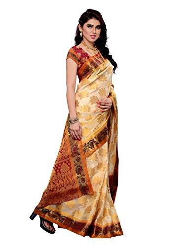 Mimosa Women Kanchipuram Art Silk Saree With Contrast Blouse (Off-White ,3169-148-OFFWT)