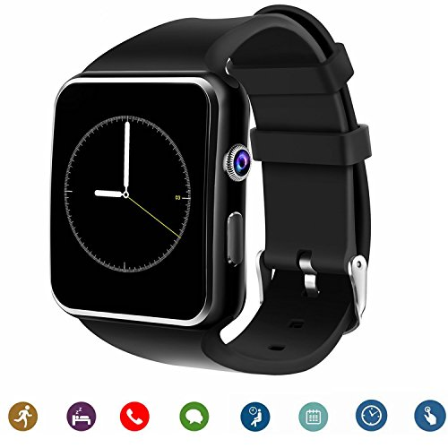 TagoBee Smartwatch TB-01 Bluetooth Smart Watch with Camera Music Player Supports SIM/TF Card 2.5D Touch Screen for Android Phones and iPhone (Partial Function) Whatsapp needs SIM Card¡­