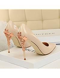 5cf656b72 Xue Qiqi Punta de plata los zapatos de tacón alto mujer salvaje pintados  con fino cuero