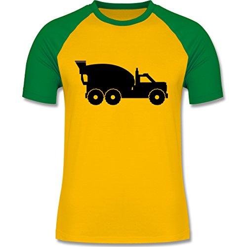andere-fahrzeuge-betonmischer-xxl-gelb-grun-l140-zweifarbiges-baseballshirt-fur-manner