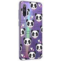 Oihxse Cristal Compatible con XiaomiMi105G Funda Ultra-Delgado Silicona TPU Suave Protector Estuche Creativa Patrón Panda Protector Anti-Choque Carcasa Cover(Panda A9)