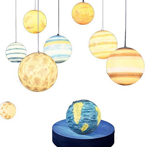 CHRISTMAD Geschenk Moderne Nordic Vintage Planet Pendelleuchten Nordic Kreatives Universum Acryl Pendelleuchte Einfache Kinder Schlafzimmer Planet Pendelleuchte E27 220 V Mit Glühbirne,Saturn-40cm -
