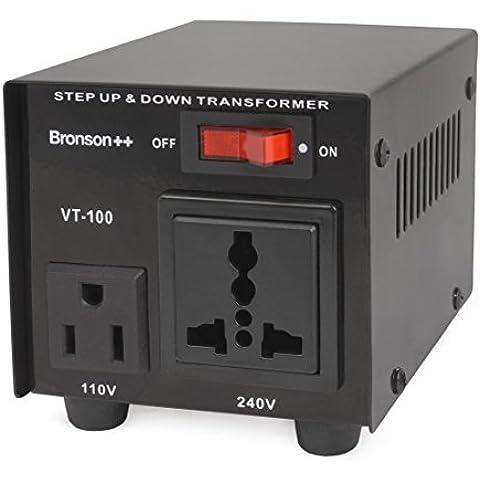 Bronson++ VT 100 - Transformador Elevador / Reductor de Voltaje de 100 Vatios EE.UU. - Convertidor de Energía de 110 Voltios - 110V 100W