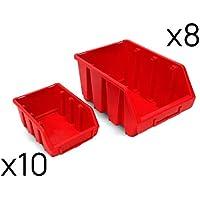 Juego de 18 gavetas cajas apilables plástico tamaño 2 y 3 (Rojo)