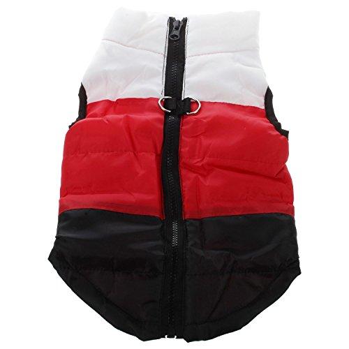 Kleidung - SODIAL(R)Kleidung fuer die Winterbettdecke Hund Katze Warm Padded Jacket Harness, Black + Red + Black XS