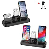 Chargeur Induction Stand pour iPhone et iWatch, Chargeur Support Charge Qi Portable Chargeur Station, pour iPhone XS/XS Max/XR/X/8/8Plus, pour Airpods Watch Series 4, 3, 2, 1
