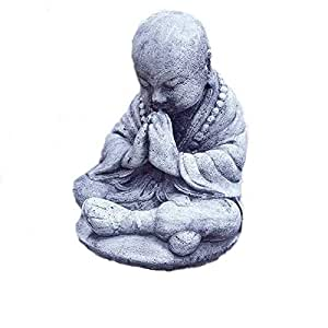 Steinfigur buddha m nch priester steinguss frostfrei for Steinfigur buddha garten