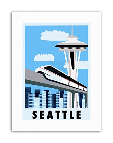 Wee Blue Coo LTD Seattle Washington USA Monorail Space Needle Poster Picture Travel Canvas Art - Monorail, Space Needle