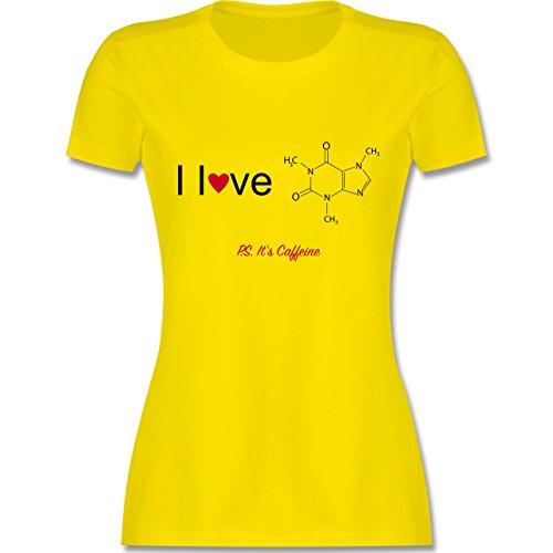 Nerds & Geeks - Strukturformel Koffein- I love Caffeine - tailliertes Premium T-Shirt mit Rundhalsausschnitt für Damen Lemon Gelb