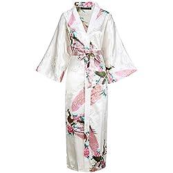 """BABEYOND Robe Longue Satin Femme Robe de Chambre Paon Femme Longue Kimono Femme Nuit Chemise de Nuit Longue Satin Soirée Pyjama 53""""/135cm, Blanc"""