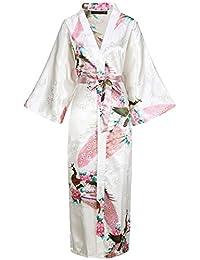 df0685b0cc BABEYOND Silk Satin Kimono Dressing Gown Peacock Kimono Robe For Women Silk  Wedding Girl s Bonding Party
