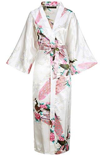 BABEYOND Damen Morgenmantel Maxi Lang Seide Satin Kimono Kleid Pfau Muster Kimono Bademantel Damen Lange Robe Schlafmantel Girl Pajama Party (Weiß) (Nachthemd Rosa Seide)