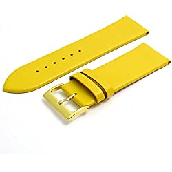 Fine Calf Leather Watch Strap Band 28mm Yellow with Gilt (Gold Colour) Buckle. Free Spring Bars (Watch Pins)