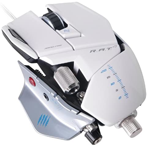 Mad Catz R.A.T. 7 - Ratón gaming (6 botones, 6400 DPI, USB), color blanco