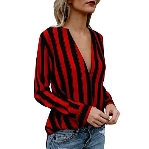 JURTEE Sommer Damen Streifen Oberteile Tiefem V-Ausschnitt Langarm Gestreift Irregulär Saum T-Shirt Bluse Tops(Medium,Rot)