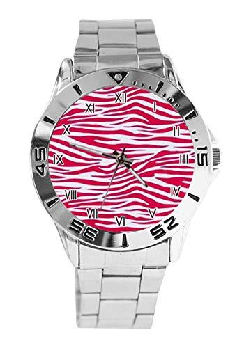 Mädchen Pink Zebra Tiger Stripe Damen Herren Uhren Analog Quarz Armbanduhr Edelstahl Uhren Pink Tiger Stripe