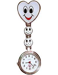 Isuper Enfermeras corazón Creativo Reloj de Cuarzo Broche de la Enfermera túnica del Fob del Reloj de Bolsillo de la Cara Sonriente Reloj con Movimiento Recorte Blanco