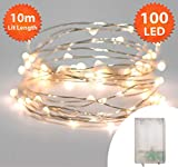 Fairy Lights 100 Micro LED 10m Warm White Indoor Christmas Lights Festive Wedding Bedroom Novelty Decorations Tree String Lights Battery Powered 32ft Lit Length Silver Cable