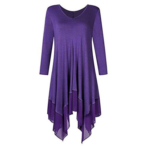 BHYDRY Womens Plus Size Unregelmäßiger Saum Reine Farbe Lange Ärmel Lose Shirt Top Bluse(2XL,Lila)