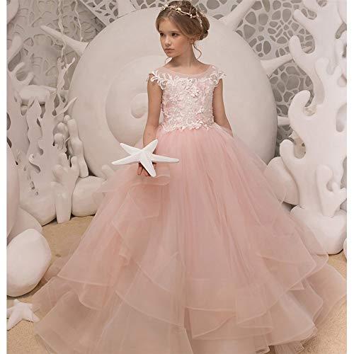 QUNSHIANK Mädchen Partykleid Ärmelloses rosa Anhänger Blumenmädchenkleid für Kinder Geburtstagsshow Puffed Maxi Dress (größe : 2-3 Years Old) (High Halloween-kostüme Junior)