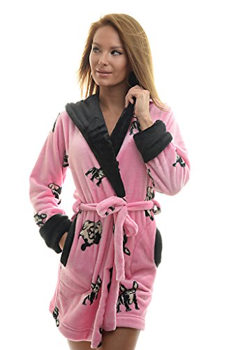 Poppy Diary Medium Pink Black Patterned French Bulldog Luxury Wellsoft Plush Bathrobe (Medium Pink-Black, X Large)