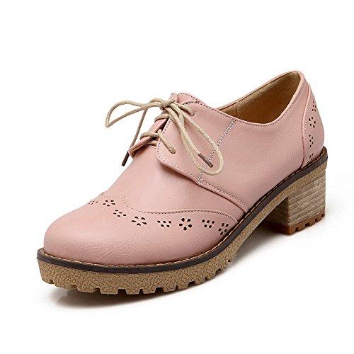 AgooLar Damen Rund Zehe Schnüren Pu Leder Niedriger Absatz Pumps Schuhe Pink