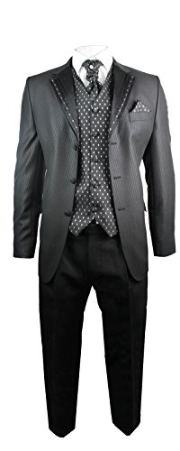 Herren Hochzeitsanzug 4-Teilig Slim-Fit Design Schwarz mit Silber Streifen, Hose, Weste, Krawatte und Handtuch