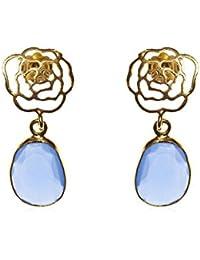 Córdoba Jewels | Pendientes en plata de Ley 925 bañada en oro con piedra semipreciosa. Diseño Flor Calcedonia Oro
