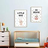 XWArtpic Cartoon Süße Tiere Kaninchen Eule Wandkunst Drucke Kindergarten Leinwand Gemälde Geschenk Poster Bilder Kinderzimmer Wohnkultur 2 stücke