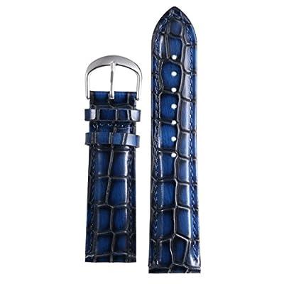 correas de reloj de cuero 18-22mm de los hombres de gama alta de lujo azul correas reemplazos del grano del cocodrilo en relieve pesada genuina piel de vaca italiana