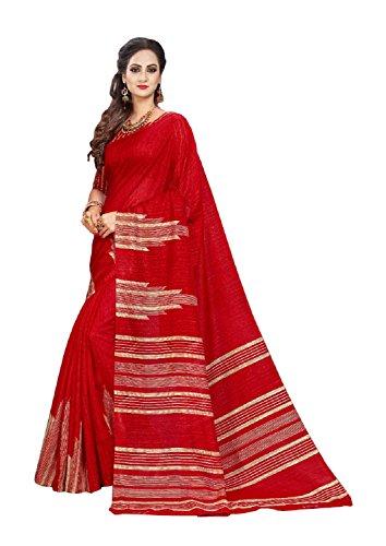 Florence Blue Bhagalpuri Silk Printed Saree with Blouse(FL-PT-PCSB01) (Red)