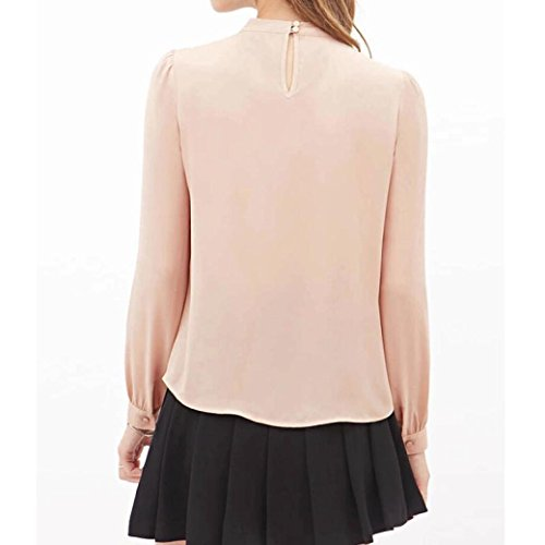 Sunnywill Falten Sie locker lässig Chiffon Langarm Shirt Tops Bluse für Mädchen Damen Rosa