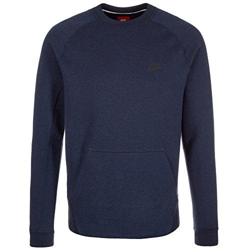 Nike Tech Fleece Crew-1MM Herren-Sweatshirt Blau / Schwarz (Obsidianheather/Obsidianheather/Black)