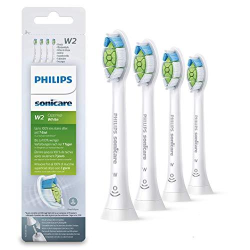 Philips Sonicare Original Aufsteckbürste Optimal White HX6064/10, 2x weniger Verfärbungen für weißere Zähne, 4 Stück