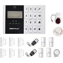 LKM Security Kit de Alarma Antirrobo M2C Casa Wireless Gsm Sensores 6, 4 Detectores Infrarrojos con Detector de Humos y de Alarma Exterior