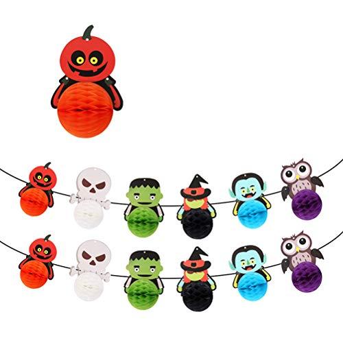 loween Hanging Swirl Deckendekoration Handwerk Pom Poms Balls Hanging Party Dekoration Hanging Whirls Party Supplies ()