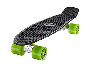 Ridge Original Retro Cruiser Mini Skateboard - Black/Green, 22-Inch