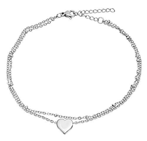 Nuoli® Herz Fußkettchen Silber (größenverstellbar) Fußband für Damen