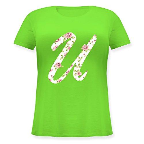 Anfangsbuchstaben - U Rosen - Lockeres Damen-Shirt in großen Größen mit Rundhalsausschnitt Hellgrün
