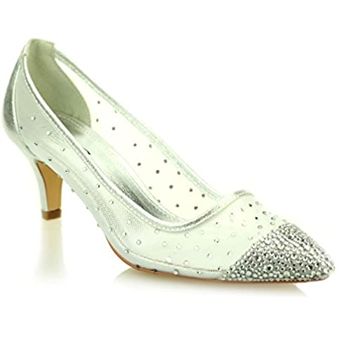 Aarz señoras de las mujeres de la tarde Corte Diamante talón bajo la boda del partido de la sandalia de fiesta nupcial zapatos Tamaño (Oro, Plata, Negro, Champagne)