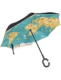 XiangHeFu - Paraguas invertido de Doble Capa, Diseño de mapamundi para Niños, Plegable,