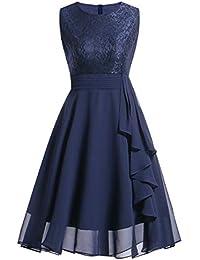 Kinlene Vestido de Mujer - Vestido de Fiesta de Noche Casual Swing Dress  Elegantes de Noche Vestido Encaje sin… 1377db853052