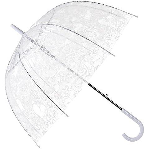 Remedios automático abierto transparente burbuja transparente encaje flores bóveda paraguas