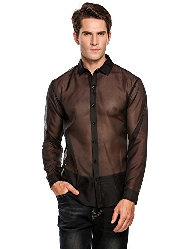 Herren Hemd Langarm Shirts Tops Transparent Mesh Sexy T-Shirt Party Club Shirt Reizwäsche