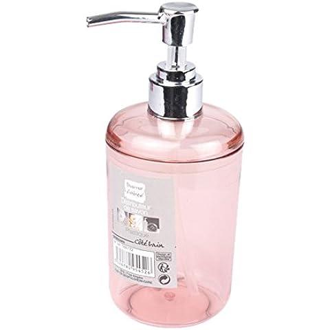 En el interior del dispensador del jabón Suavidad 6ASB224RS translúcido rosa del polvo de plástico 7 x 7 x 16